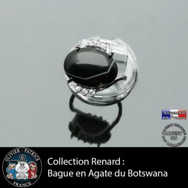 Bague collection Renard en agate du Botswana naturelle et argent 925