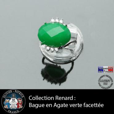 Bague collection Renard en agate verte facettée et argent 925