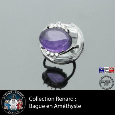 Bague collection Renard en améthyste naturelle et argent 925
