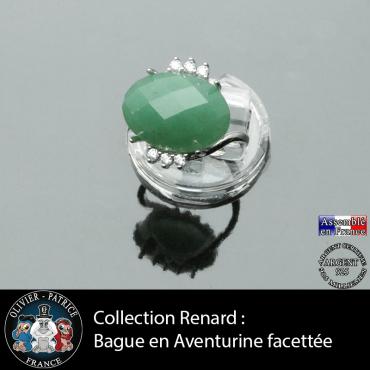 Bague de la collection Renard en aventurine verte facettée et argent 925