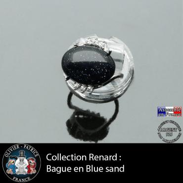 Bague collection Renard en pierre blue sand lisse et argent 925