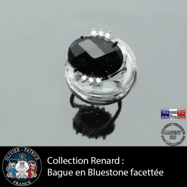 Bague Renard en pierre blue sand facettée et argent 925
