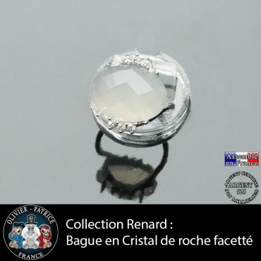 Bague Renard en cristal de roche facettée et argent 925