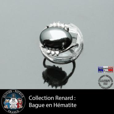 Bague collection Renard en hématite naturelle et argent 925