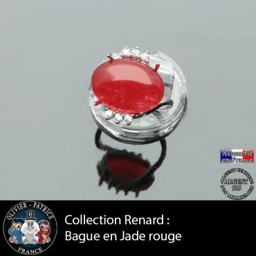 Bague collection Renard en jade rouge naturel et argent 925