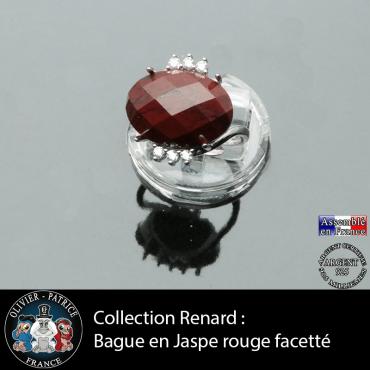 Bague collection Renard en jaspe rouge facetté et argent 925