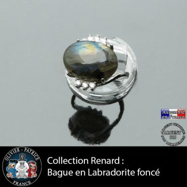 Bague Renard en pierre naturelle labradorite foncée et argent 925