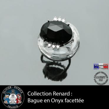 Bague collection Renard en onyx naturelle à facettes et argent 925