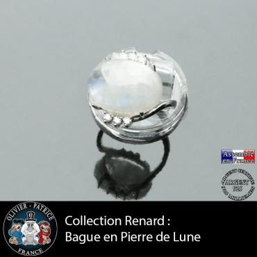 Bague collection Renard en pierre de lune naturelle et argent 925