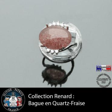Bague collection Renard en quartz fraise naturel et argent 925
