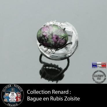 Bague collection Renard en rubis zoïsite naturel et argent 925