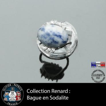 Bague collection Renard en sodalite naturelle lisse et argent 925