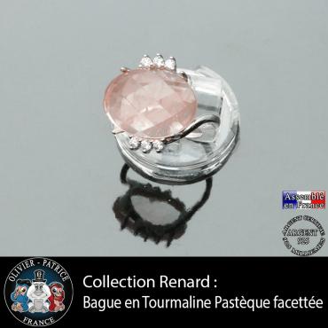 Bague collection Renard en tourmaline rose pastèque facettée et argent 925