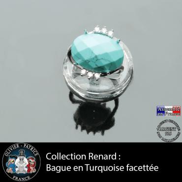 Bague collection Renard en turquoise naturelle facettée et argent 925