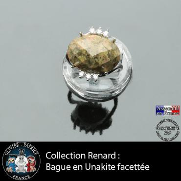Bague collection Renard en unakite naturelle facettée et argent 925
