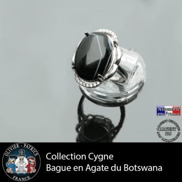 Bague Cygne en agate du Botswana et argent 925