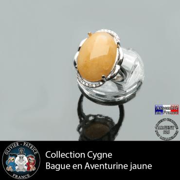 Bague Cygne en aventurine jaune et argent 925