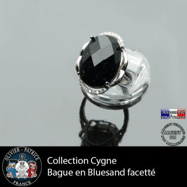 Bague Collection Cygne en pierre blue sand facettée et argent 925