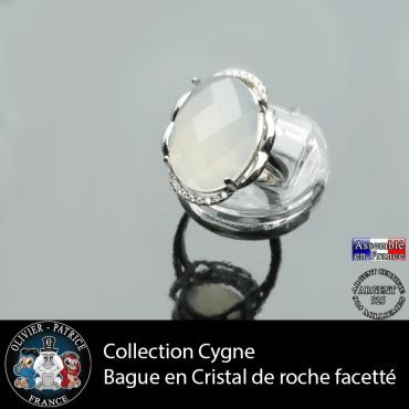 Bague Cygne en cristal de roche facetté et argent 925