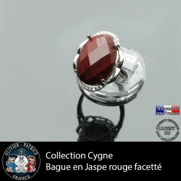 Bague Cygne en jaspe rouge et argent 925