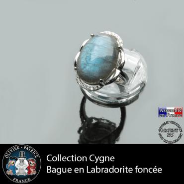 Bague Cygne en labradorite claire et argent 925
