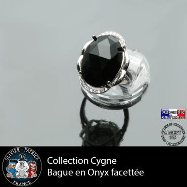 Bague Cygne en onyx  et argent 925