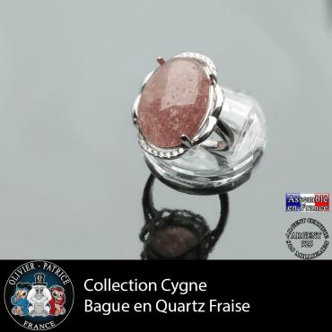 Bague Cygne en quartz fraise et argent 925