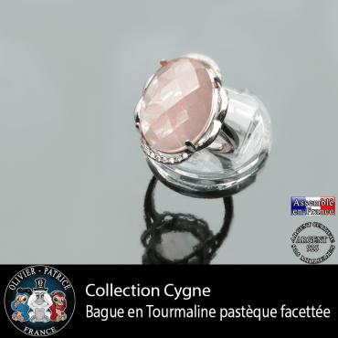 Bague Cygne en tourmaline rose pastèque et argent 925