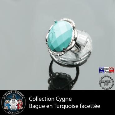Bague Cygne en turquoise et argent 925