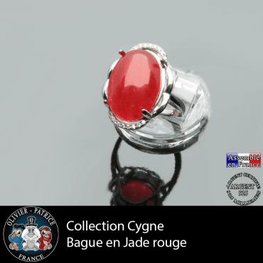 Bague Cygne en jade rouge et argent 925