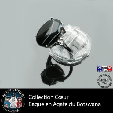 Bague Coeur en agate du Botswana et argent 925