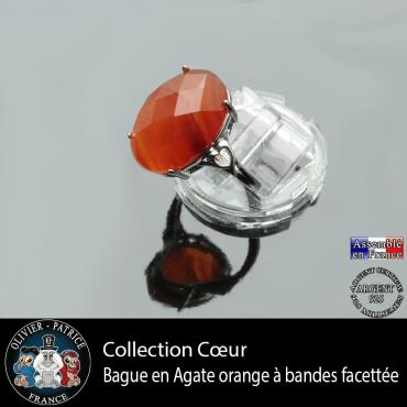 Bague Coeur en agate à bandes orange et argent 925