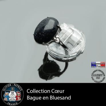 Bague Coeur en pierre blue sand lisse et argent 925