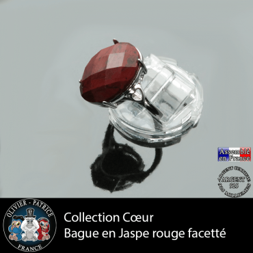 Bague Coeur en jaspe rouge et argent 925