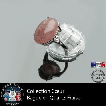 Bague Coeur en quartz fraise et argent 925