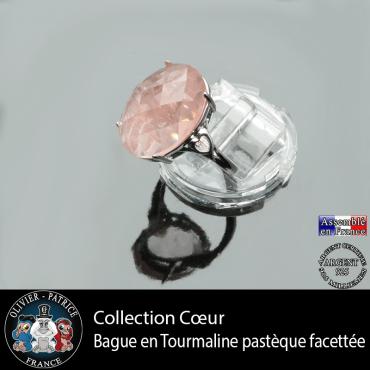 Bague Coeur en tourmaline rose pastèque et argent 925