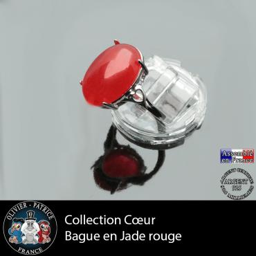 Bague Coeur en jade rouge et argent 925