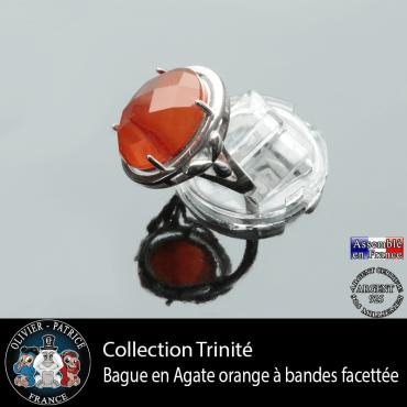 Bague Trinité en agate à bandes orange et argent 925