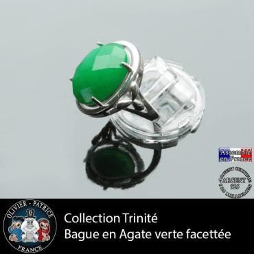 Bague Trinité en agate verte et argent 925