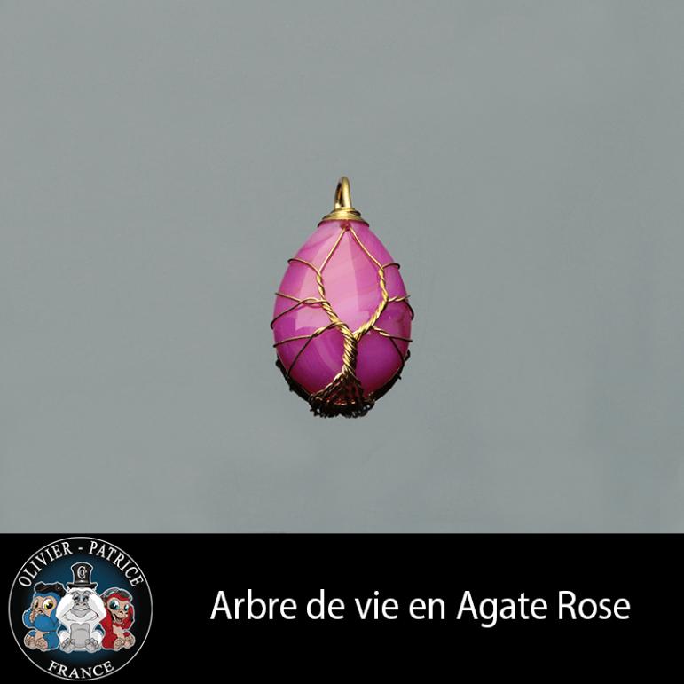 Arbre de vie pendentif en agate rose et son écrin