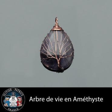 Pendentif arbre de vie améthyste en alliage