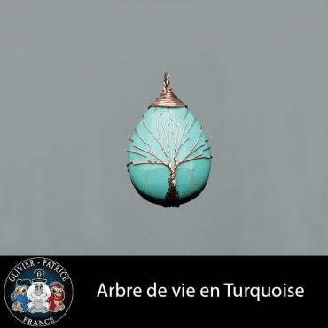 Arbre de vie en turquoise vendu dans son écrin avec son cordon