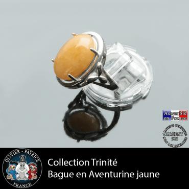 Bague Trinité en aventurine jaune et argent 925
