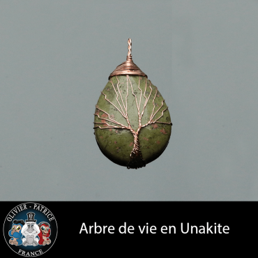 Arbre de vie unakite vendu dans son écrin à bijoux