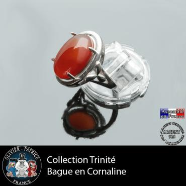 Bague Trinité en cornaline et argent 925