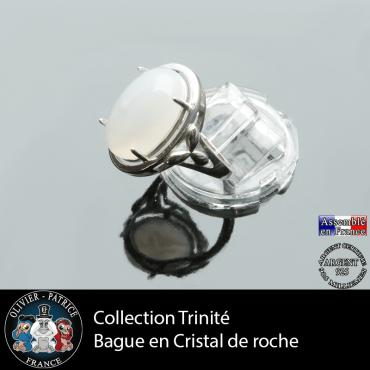 Bague Trinité en cristal de roche lisse et argent 925