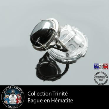 Bague Trinité en hématite et argent 925