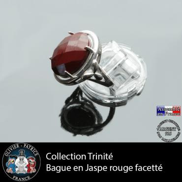 Bague Trinité en jaspe rouge et argent 925