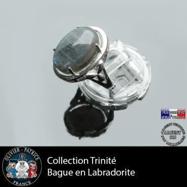 Bague Trinité en labradorite claire et argent 925