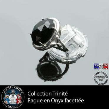Bague Trinité en onyx et argent 925
